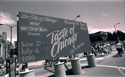 Welcome sign at the 1989 Taste of Chicago