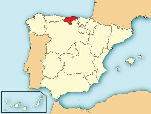 Localización de Cantabria respecto a España