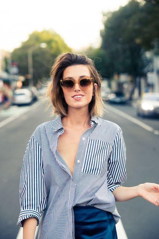 Le Fashion Blog 25 Ways To Wear A Striped Button Down Shirt Sunglasses Carmen Hamilton Via The Coveteur Opened Blogger Style