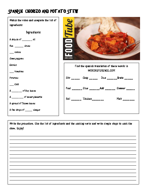 Cooking a Spanish Recipe