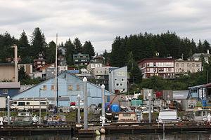 A distant shot of an area of Cordova, Alaska
