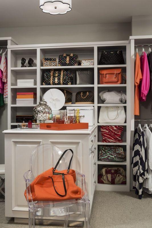 open storage for purses in closet Martha O'Hara Interiors