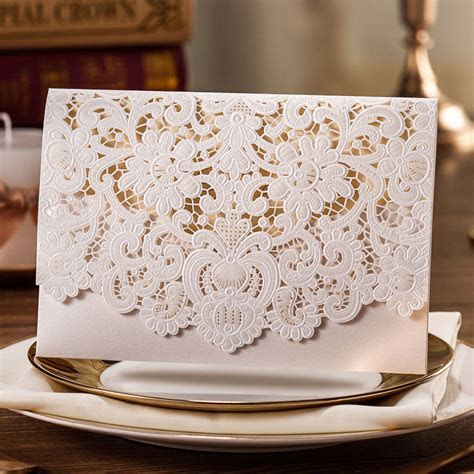 White Lace Laser Cut Wedding Invitations Cards with Free
