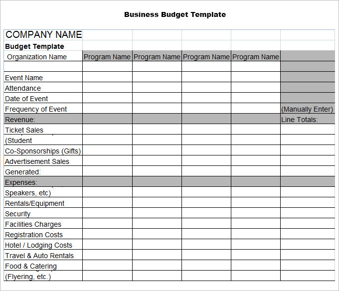Business Plan Budget Template Excel Template Creator