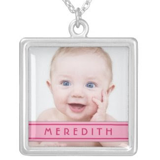Baby Photo Template with Name Plate Necklace zazzle_necklace