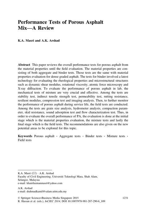 (PDF) Performance Tests of Porous Asphalt Mix—A Review