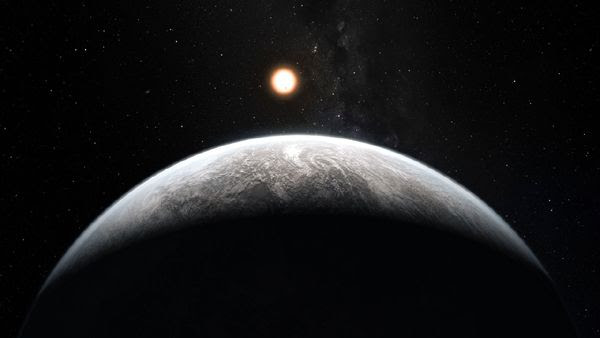 An artist's concept of an exoplanet orbiting the Sun-like star HD 85512...in the southern constellation of Vela (The Sail).