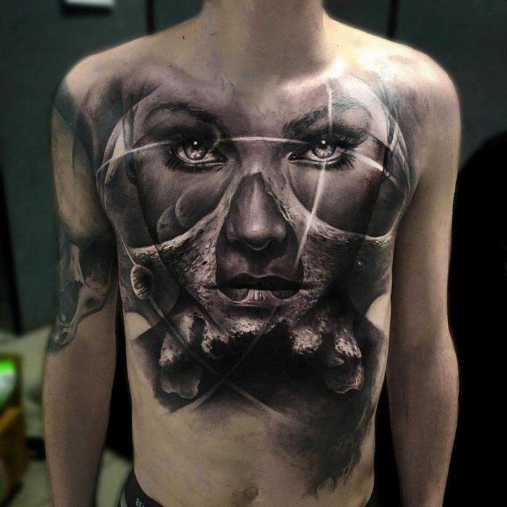 Big Black And Grey Portrait Tattoo Best Tattoo Ideas Gallery