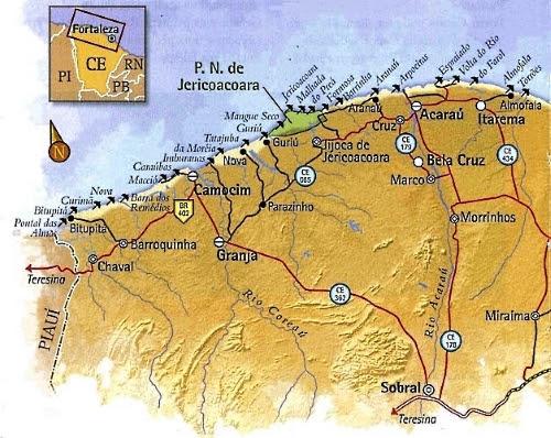 Mapa Praia do Ceará-Litoral Oeste