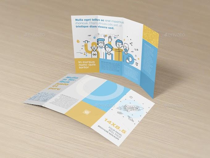 Marvelous Print Mockups - 14 x 8.5 Four Panel Roll Fold Brochure Mockups