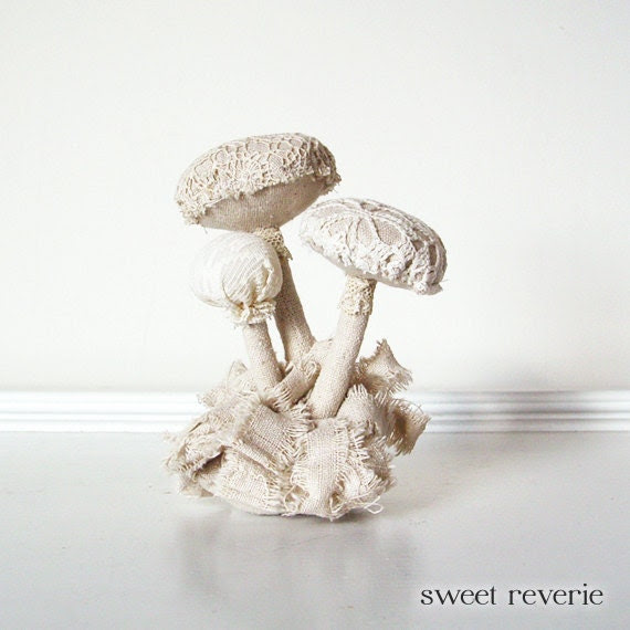 Vintage Lace Textile and Fabric Mushroom Cluster - Snowy White and Cream Soft Sculpture - Shabby Chic - Wedding Decor - Winter Decor - asweetreverie
