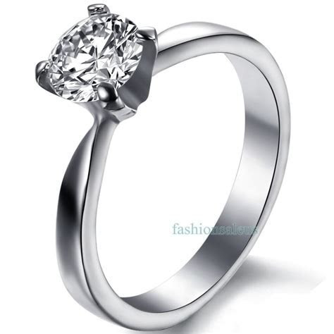 Stainless Steel Cubic Zirconia Women's Solitaire Ring