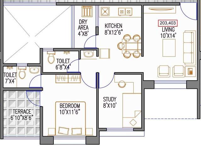544 sq.ft. Carpet + Terrace - 2 BHK Flat for Rs. 25 Lakhs at Urbangram Kirkatwadi on Sinhagad Road Pune 411 024 - D2 2nd & 4th Floor