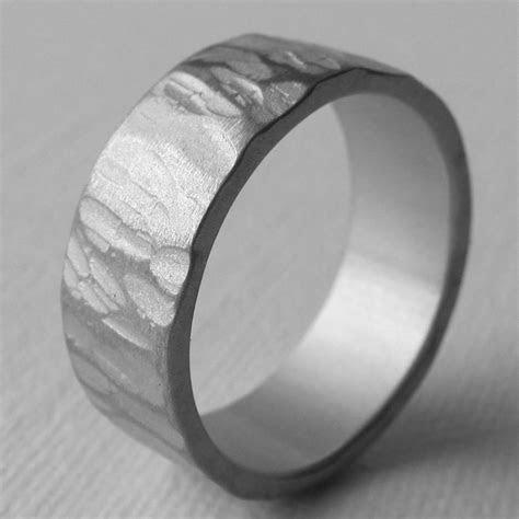 Men's Aluminum Wide Textured Wedding Ring 10th Anniversary