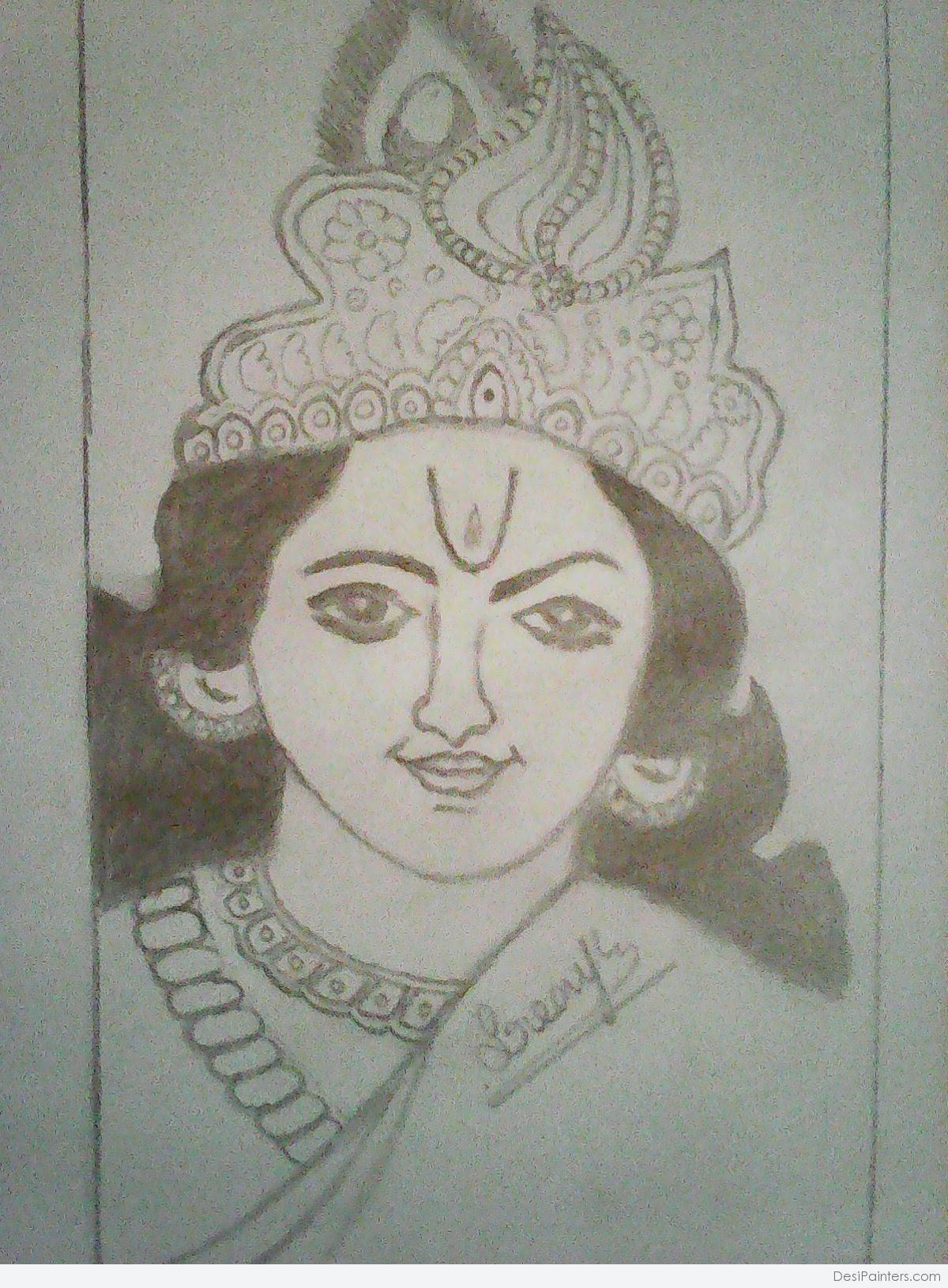 Krishna Mukut Drawing
