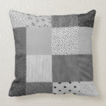 fun black and white patchwork vintage art designer throw pillow