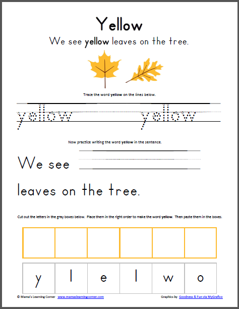Yellow Worksheets For Kindergarten