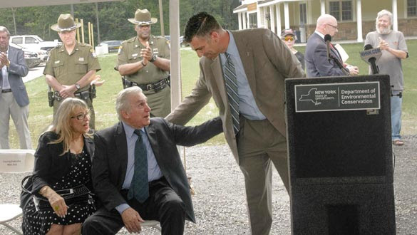 County Executive Michael Hein with former Congressman Maurice Hinchey at the dedication. (photo by Alan Carey)