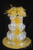 Yellow bouquet diaper cake
