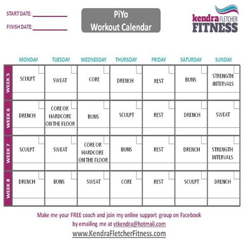 images  piyo calendar  pinterest workout