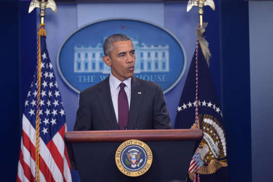 US President Barack Obama delivers a statement, after a shooting at a community college in Oregon that left up to 10 people dead, in the Brady Briefing Room of the White House in Washington, DC on October 1, 2015. A 20-year-old gunman opened fire inside a classroom at Umpqua Community College in rural Roseburg, before being 'neutralized' by police, authorities said. He was later confirmed dead. AFP PHOTO/MANDEL NGAN (Photo credit should read MANDEL NGAN/AFP/Getty Images)