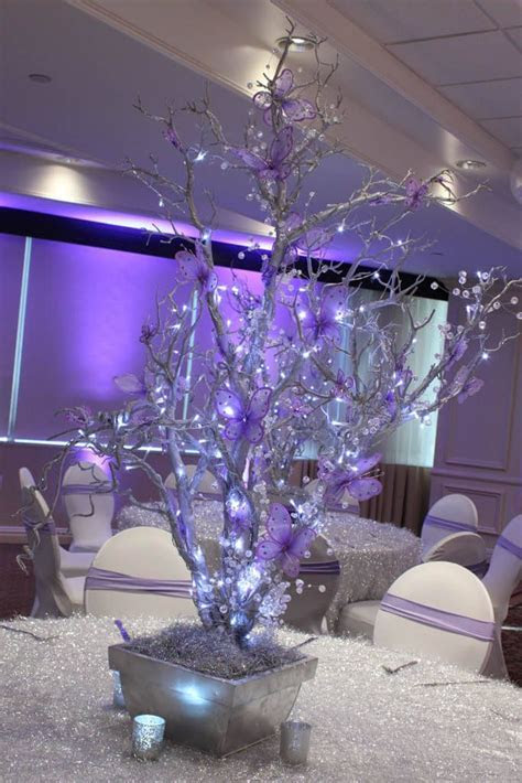 Silver & Lavender LED Tree LED Wrapped Silver Tree