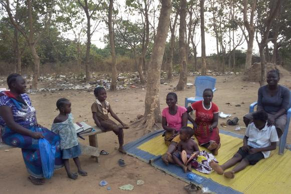 Some of the displaced Nigerians in the front yard of the Don Peter Dabale Memorial United Methodist Church in Nigeria.