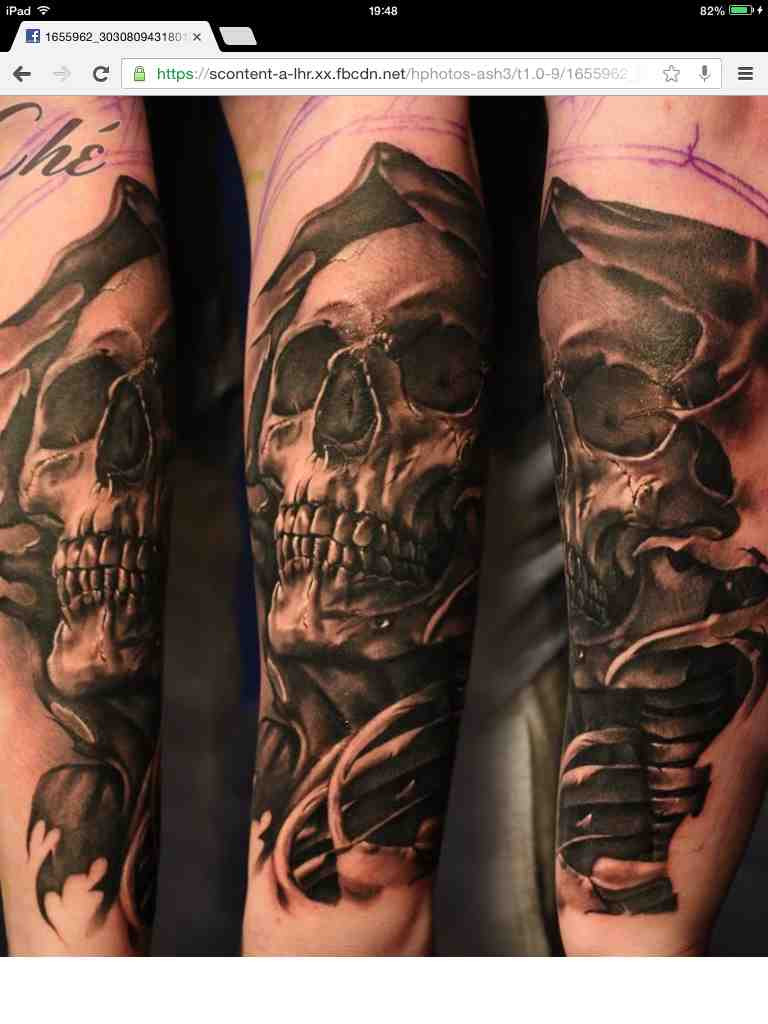 Start Of My Heaven And Hell Sleeve Grim Reaper Tattoo