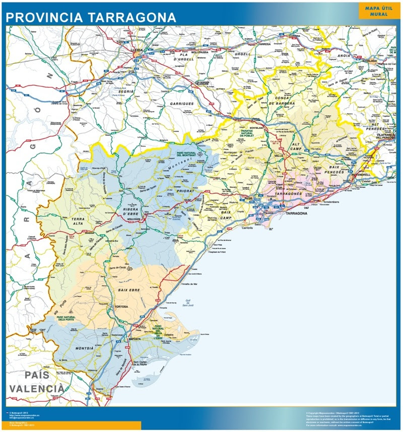 Mapa De Tarragona Pueblos.Mapa Mapa Provincia Tarragona