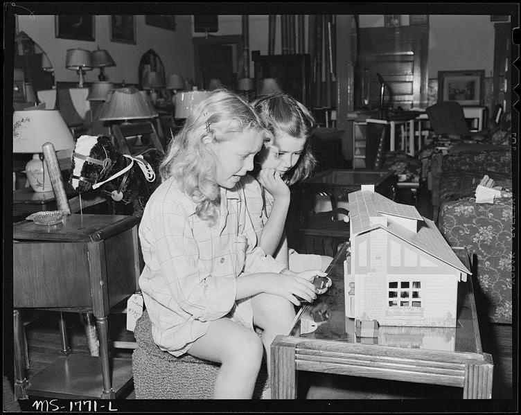 File:Daughters of miners playing with toy house in company store. Koppers Coal Divison, Kopperston Mines, Kopperston... - NARA - 540925.jpg