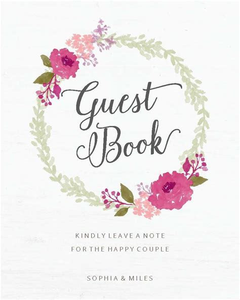 Watercolor Wreath Guest Book Sign Printables by Basic Invite