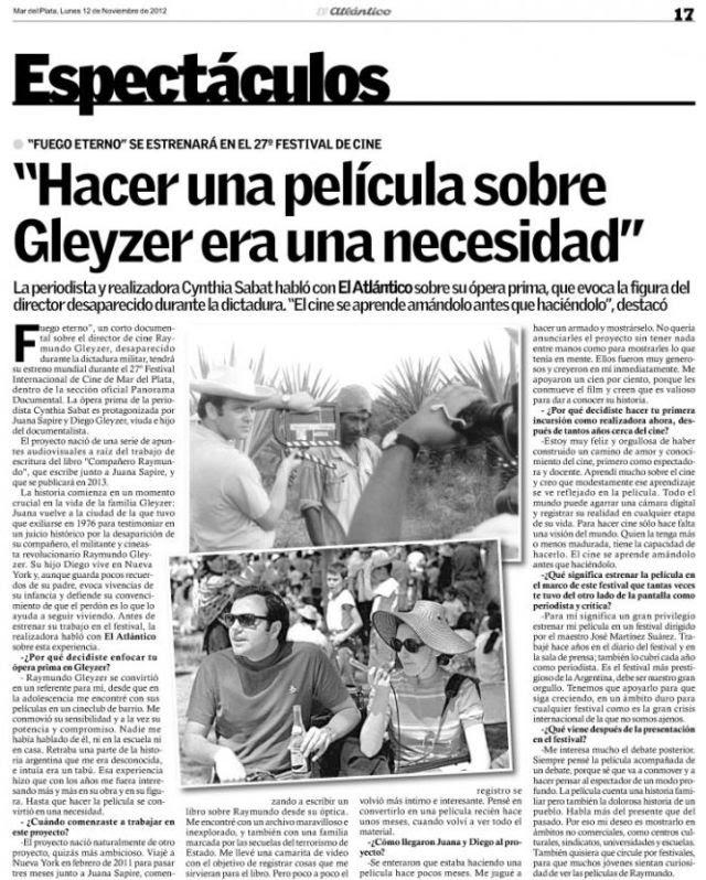 Entrevista publicada por el diario El Atlántico el 12-11-2012