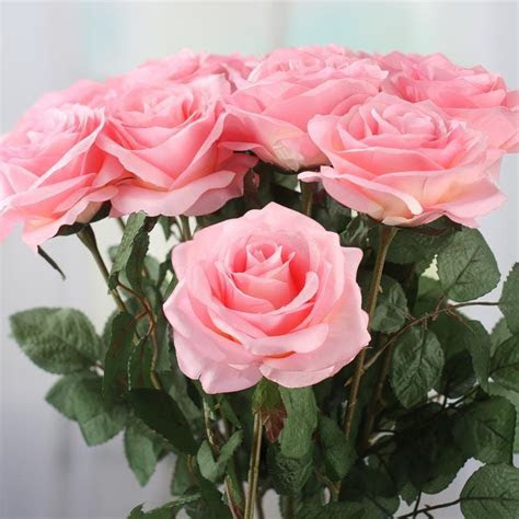 Pink Artificial Long Stem Roses   Picks   Sprays   Floral