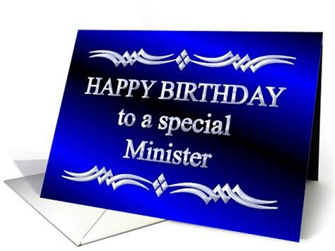 Happy Birthday Minister Blue and Silver card (1149266)