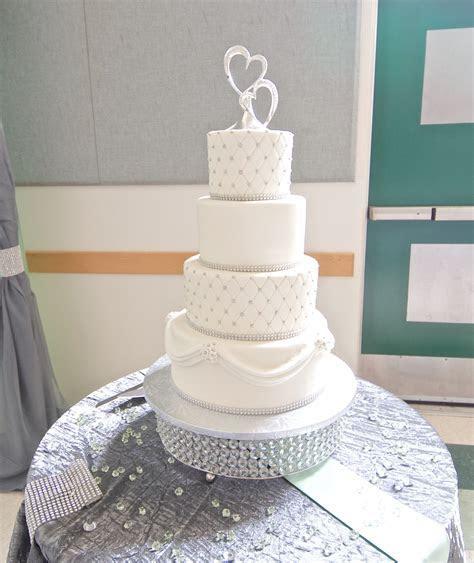 White and Silver Wedding Cake   Whimsical Cake Studio