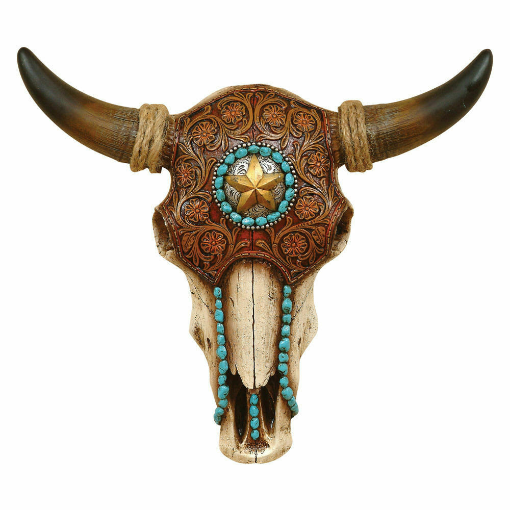 Download Bull Steer Cow Skull / Head Horns Tooled Leather Turqoise ...