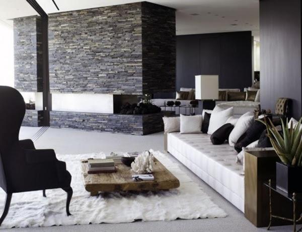wandgestaltung wohnzimmer stein schwarz grüne möbel