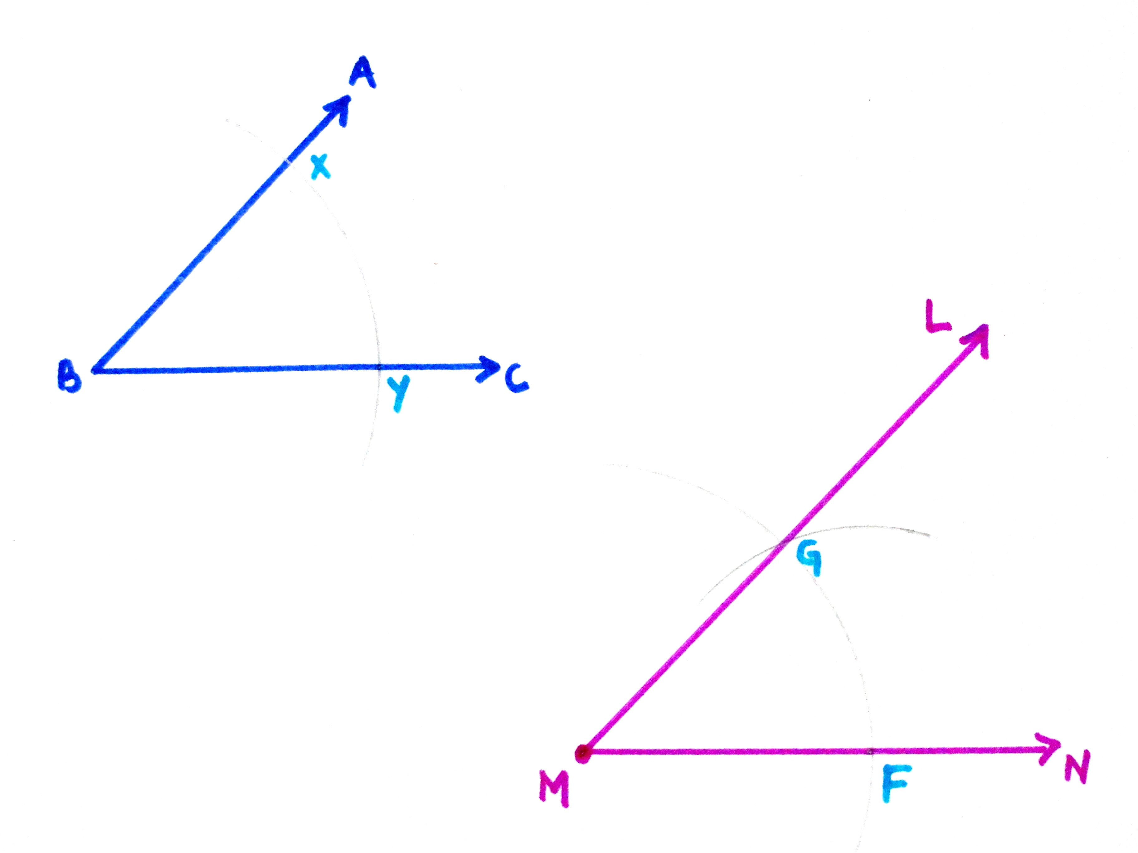 Construct an Angle Congruent to a Given Angle Step 11