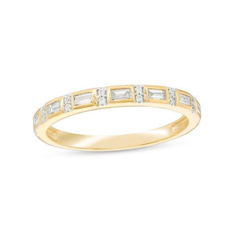 1/6 CT. T.W. Baguette and Round Diamond Alternating