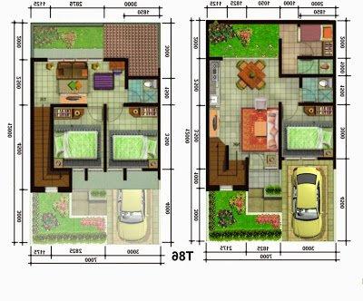 konsep terkini 26+ denah rumah type 60 2 lantai