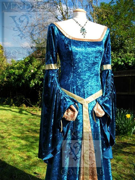 Medieval Inspired Dress Lilac Turquoise