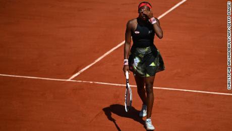Gauff reacciona durante su partido de cuartos de final individual femenino contra Krejcikova.