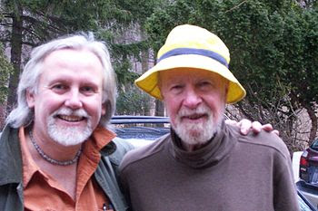 Pete Seeger (right), nearly 89, with his longt...