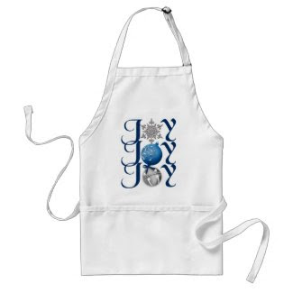 Blue Silver Christmas Joy Apron