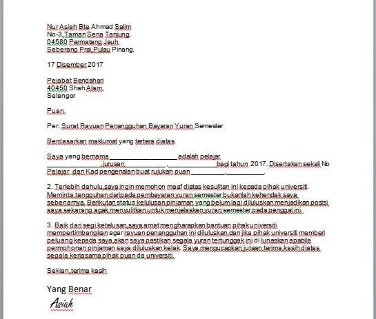 Contoh Surat Rasmi Rayuan Pengurangan Bayaran - Xmast 4