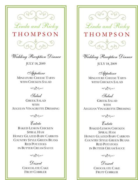 Wedding Menu Template   5 Free Printable Menu Cards