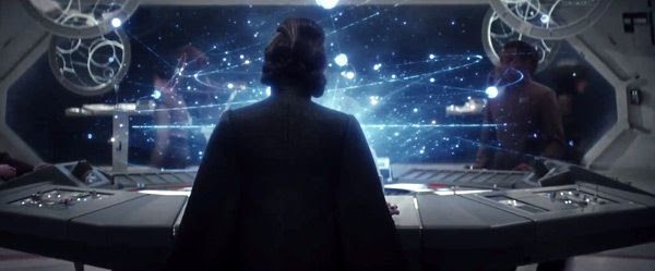 General Leia Organa (Carrie Fisher) stares at a map inside a Resistance briefing room in STAR WARS: THE LAST JEDI.