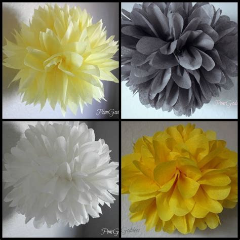 SALE 12 Tissue Poms   Yellow and Gray Wedding Decorations