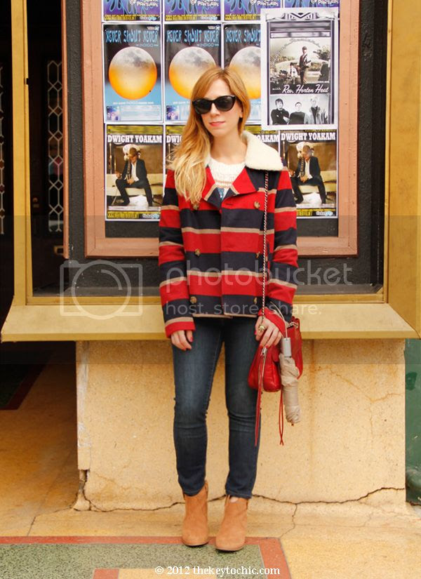 BB Dakota Ruth striped jacket, Old Navy skinny jeans, Aldo Mandina boots, Rebecca Minkoff Swing handbag, Los Angeles fashion blog