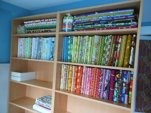 Fabric shelf progress by capitolaquilter